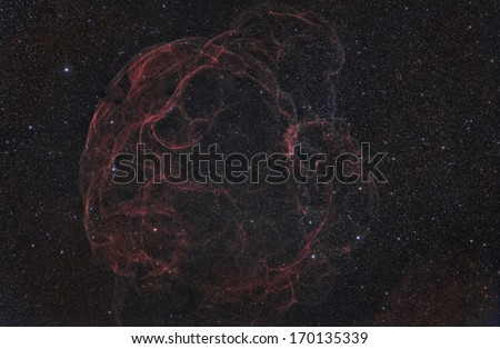 Sharpless 2-240, a super nova remnant imaged in narrow band - stock photo