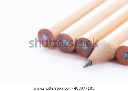 Sharpness pencil on white background. Leadership, uniqueness, independence, initiative, strategy, dissent, think different, business success concept. - stock photo