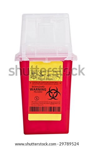 Sharps collector container isolated on white with clipping path included. - stock photo