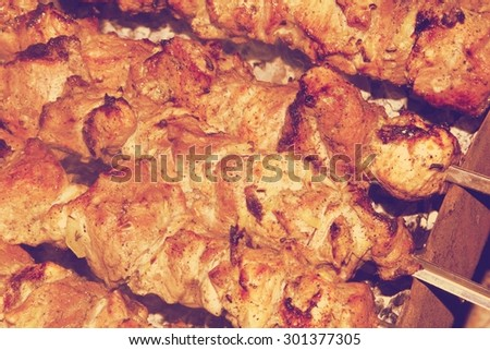 Shashlik barbecue prepared on a vine wood coal. Clipping path. retro - stock photo