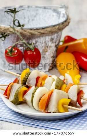 Shashlik made of fish and vegetables, party snack