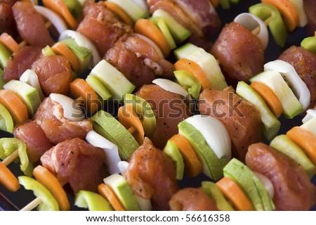 Shashlik (shish kebab) on - stock photo