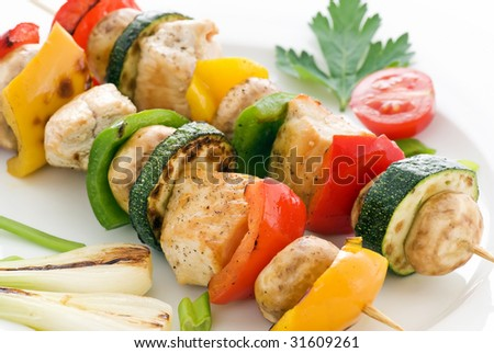 Shashlik with Chicken and Vegetables - stock photo