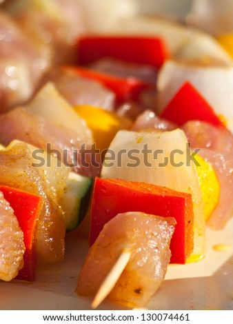 shashlik with poultry and vegetables before grilling