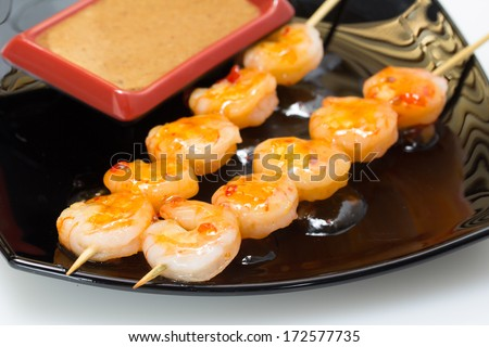 Shashlik with seafood - stock photo