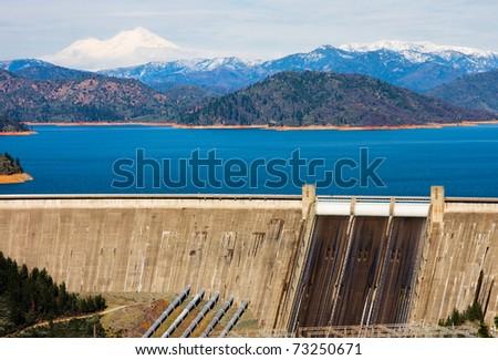 Shasta Dam and Shasta Mountain - stock photo
