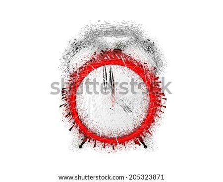 shattered alarm clock, wake up in hurry concept, isolated illustration - stock photo
