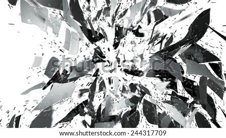 Shattered and breaking glass on white with motion blur. Large resolution - stock photo
