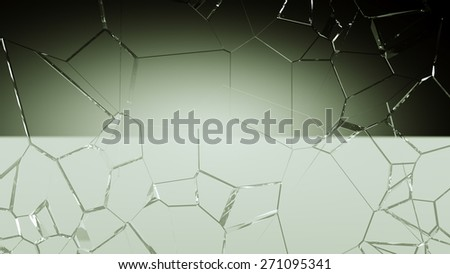 Shattered and cracked glass background. Large resolution - stock photo