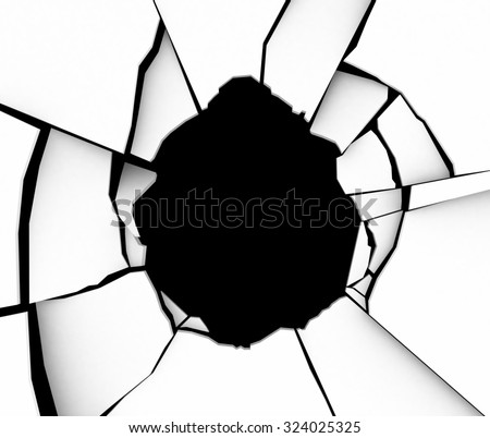 Shattered Earth Crack. 3d rendering - stock photo