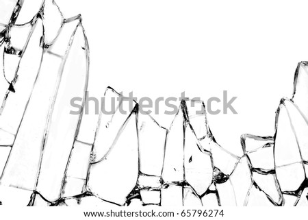 Shattered glass against white for creative image montage - stock photo