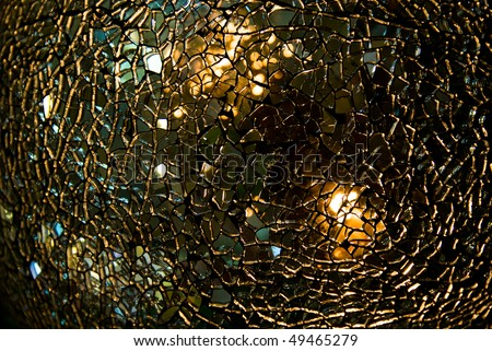 Shattered glass ball texture with crackles visible - stock photo