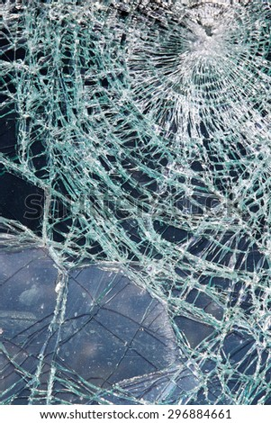 Shattered Glass Broken Windshield in Traffic Accident - stock photo