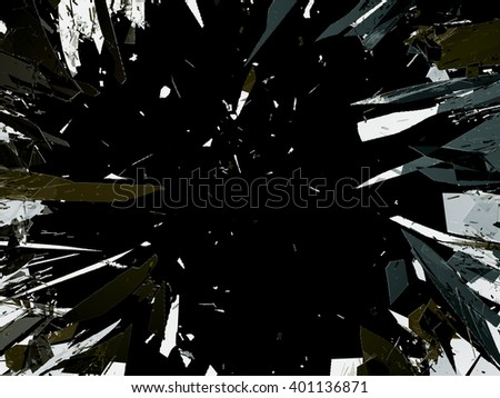 Shattered glass isolated on black background. Destructed pieces