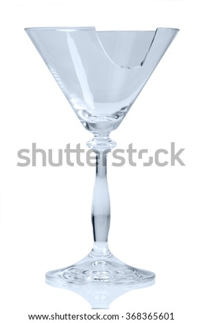 Shattered glass of cocktail isolated on white background - stock photo