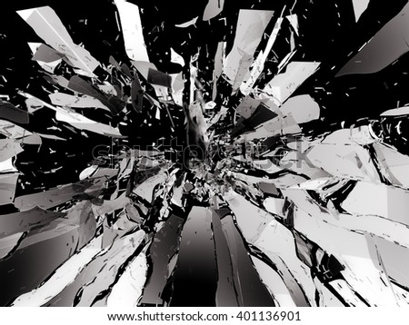 Shattered glass: sharp Pieces isolated on black - stock photo