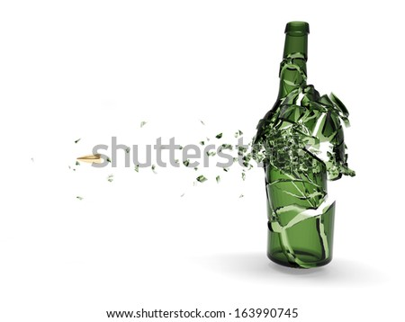 Shattered green beer bottle by bullet isolated on white background. (Animation for this image see in my footage gallery) - stock photo