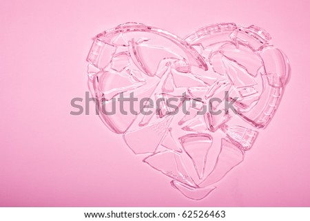 shattered heart with copyspace - stock photo
