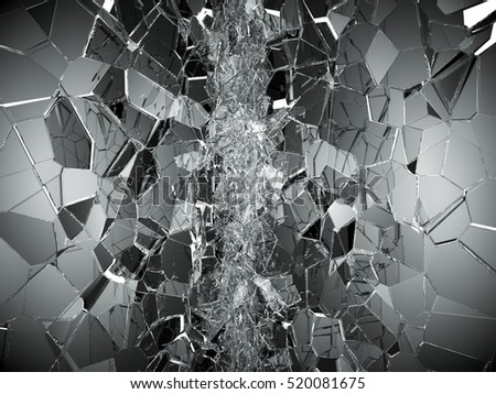 Shattered or demolished glass over white. 3d rendering 3d illustration