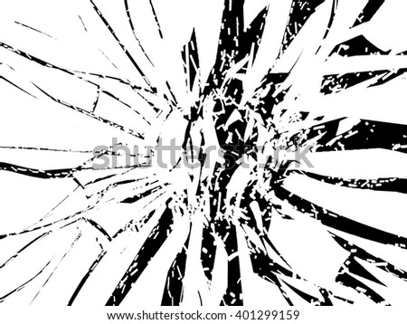Shattered or smashed pieces of glass isolated on black - stock photo