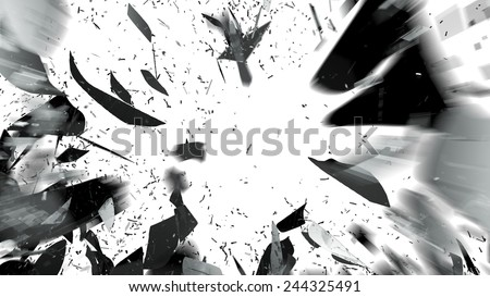 Shattered pieces of glass on white with motion blur. Large resolution - stock photo