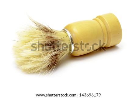 Shaving brush isolated on white - stock photo