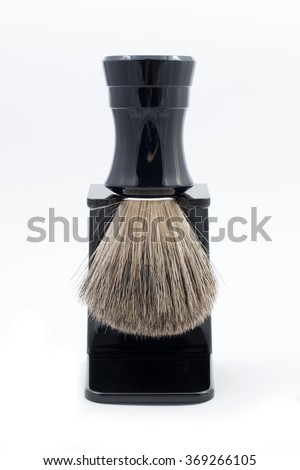 shaving brush on a stand - stock photo