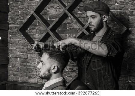 Shaving with a straight razor - stock photo