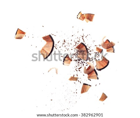 Shavings of cosmetic pencil - stock photo