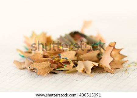 Shavings of pencil sharpeners - stock photo
