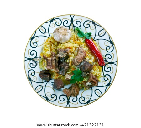 shavlya - Uzbek rice dish with lamb and rice. Central Asian cuisine