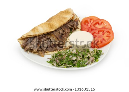 Shawarma Doner kebab on a plate - stock photo