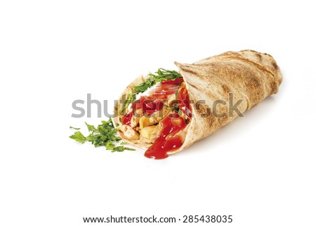 shawarma with sauce on white background - stock photo