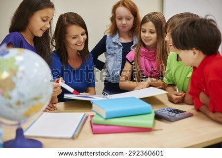 She always explain difficult homework  - stock photo
