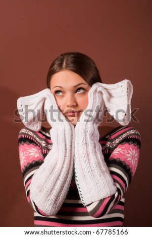 she covered her face with her hands - stock photo