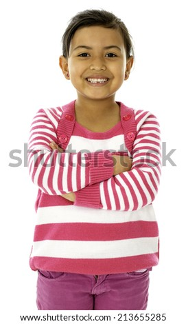 She is a cute girl who wear a pink and white dress. - stock photo