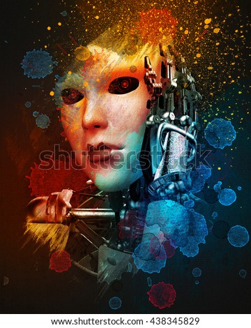 she is a cyborg hi tech art 3d illustratiom - stock photo