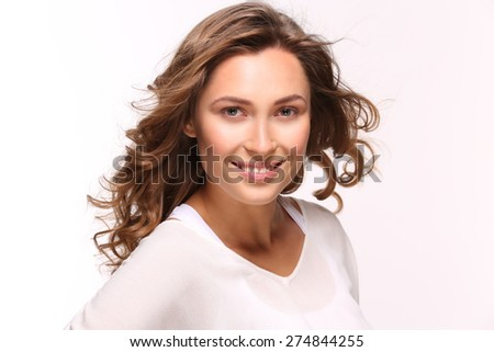 She is perfect. Woman isolated on white smiling to camera. - stock photo