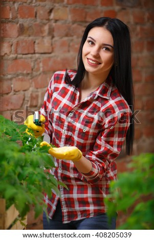 She knows what to do. Beautiful young brunette gardening indoors spraying vegetables with water looking to the camera smiling. - stock photo