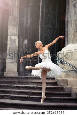 She makes you wanna dance. Soft focus portrait of a stunning female ballet performer outdoors - stock photo