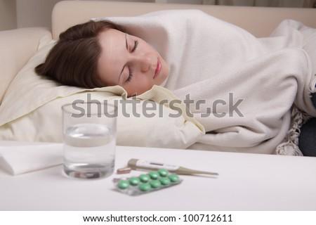 she suffers a cold - stock photo