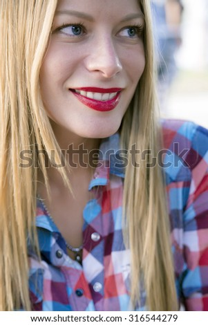 She wears her own style with pride-Beautiful young hipster girl - stock photo