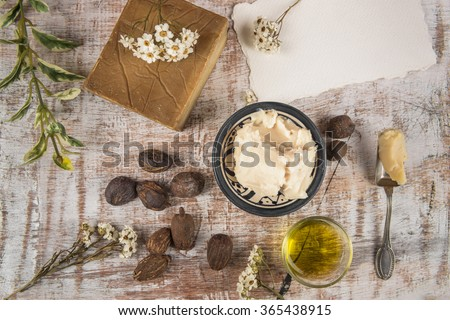 Shea nuts and products: butter, oil and soap for skincare