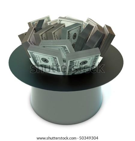 sheaf 100 Dollars banknote in the cap - stock photo