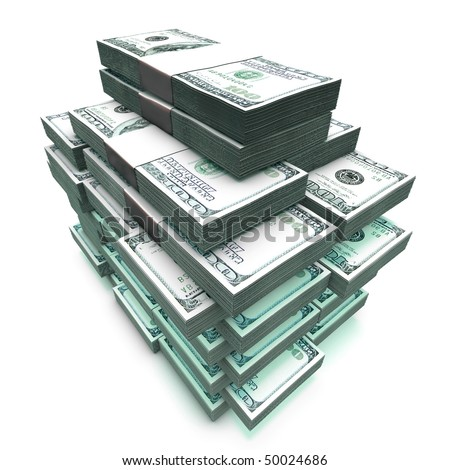 sheaf 100 Dollas banknote model - stock photo
