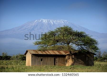 Shed against Kilimangaro - stock photo