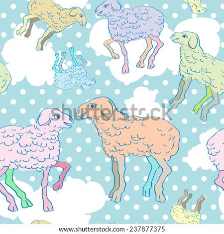 Sheep cartoons seamless pattern, childish illustration over a background with dots and clouds - stock photo