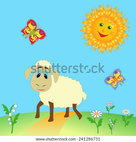 Sheep grazing on pasture and colorful cartoon fairy butterflies flying near a Sun over meadow. Hand drawing illustration - stock photo