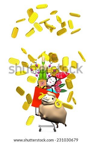 Sheep, New Year's Ornaments, Shopping Cart On White Text Space. 3D render illustration For The Year Of The Sheep,2015. For New Year Greeting Postcard. Isolated On White. - stock photo