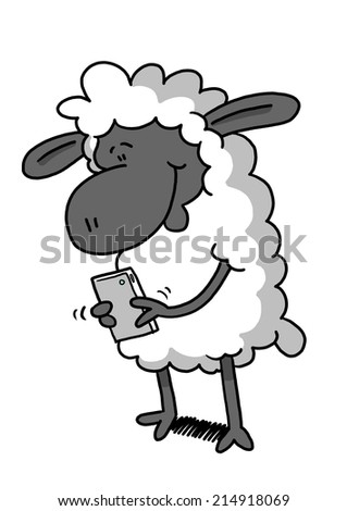 Sheep playing on phone - stock photo